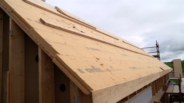 Pitched roof externally insulated with Gutex.