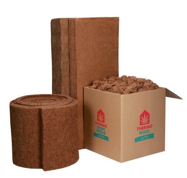 A roll, mats and a box of Thermo Jute insulation