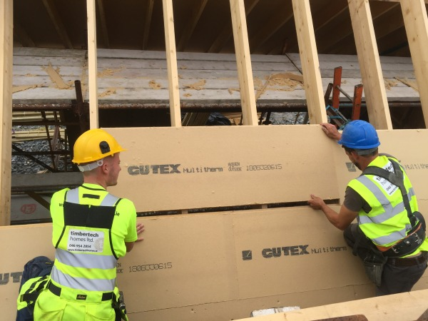 Gutex Multitherm installation on a pitched roof where tongued and grooved joints are tightly fitted together