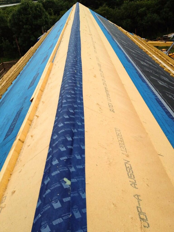 The pitch of a roof which has been fitted with Ultratherm primed and sealed with Tescon Vana airtight tape.