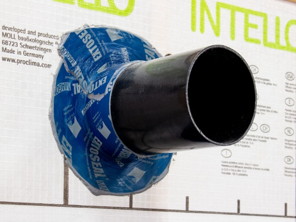 Extoseal Magov bonded to a pipe penetrating an airtight membrane