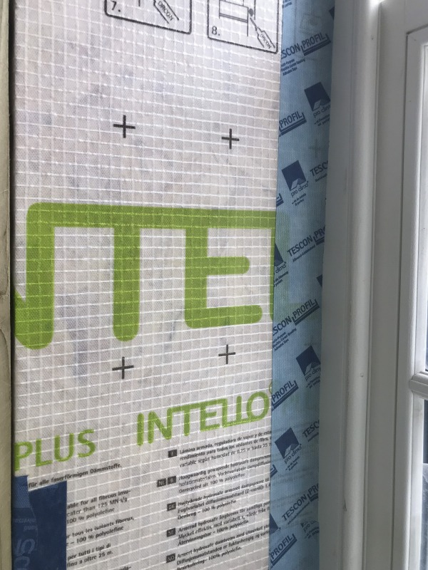 Tescon Profil sealing an Intello membrane to the junction of a window frame