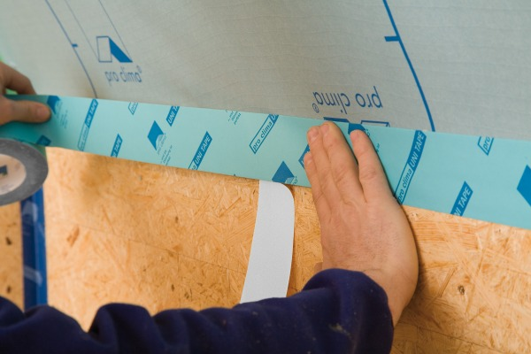 Unitape used to seal a membrane to an OSB board