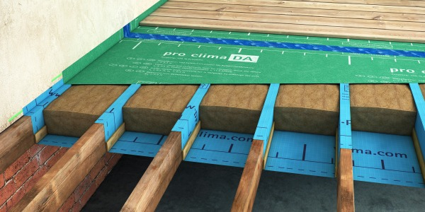 Suspended timber floor with Thermo Hemp batts fitted between the joists, in between a layer of Solitex Plus and Pro Clima DA.