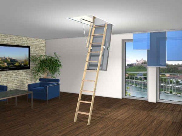 Wellhofer's lever/spring system balances the weight of the stairs